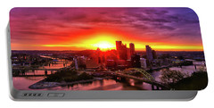 Firey Sunrise Over Pittsburgh Portable Battery Charger