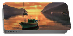 Fishing Boats At Sunset Simi Greek Islands-dwp40406001 Portable Battery Charger
