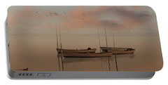Fishing Boats Resting At Dusk Portable Battery Charger