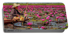 Fishing In The Red Lotus Lake Portable Battery Charger