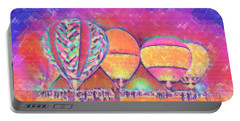 Five Glowing Hot Air Balloons In Pastel Portable Battery Charger