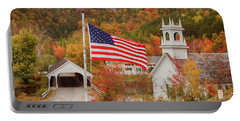 Flag Flying Over The Stark Covered Bridge Portable Battery Charger