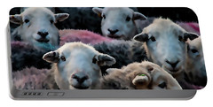 Flock Of Herdwicks Digital Painting Portable Battery Charger