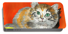 Portable Battery Charger featuring the painting Fluffy Kitten by Dobrotsvet Art