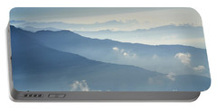 Portable Battery Charger featuring the photograph Fog Above Mountain In Valley Himalayas Mountains by Raimond Klavins
