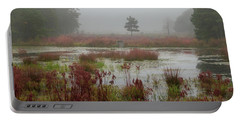 Portable Battery Charger featuring the photograph Foggy Morning At Cloverdale Farm by Kristia Adams