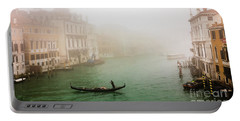 Foggy Morning On The Grand Canale, Venezia, Italy Portable Battery Charger