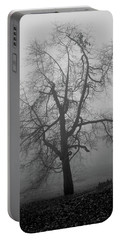 Foggy Tree In Black And White Portable Battery Charger