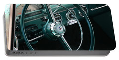 Portable Battery Charger featuring the photograph 1955 Ford Fairlane Steering Wheel by Debi Dalio