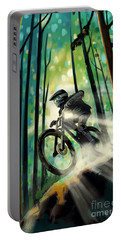 Portable Battery Charger featuring the painting Forest Jump Mountain Biker by Sassan Filsoof