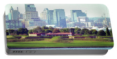 Portable Battery Charger featuring the photograph Fort Mchenry With Baltimore Background by Bill Swartwout Fine Art Photography