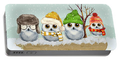 Four Winter Owls Portable Battery Charger
