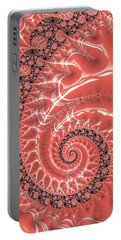 Portable Battery Charger featuring the digital art Fractal Spiral Living Coral by Matthias Hauser