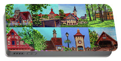Frankenmuth Downtown Michigan Painting Collage I Portable Battery Charger
