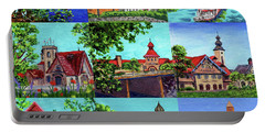 Frankenmuth Downtown Michigan Painting Collage II Portable Battery Charger