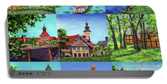 Frankenmuth Downtown Michigan Painting Collage IIi Portable Battery Charger