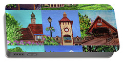 Frankenmuth Downtown Michigan Painting Collage Iv Portable Battery Charger