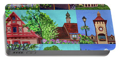 Frankenmuth Downtown Michigan Painting Collage V Portable Battery Charger