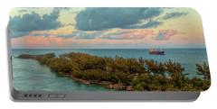 Freighter Off Paradise Island Portable Battery Charger