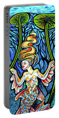 Freshwater Mermaid With Water Lilies At Night Portable Battery Charger