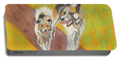 Portable Battery Charger featuring the painting Friends by Dobrotsvet Art