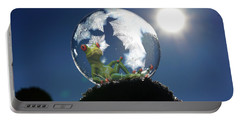 Portable Battery Charger featuring the digital art Frog Relaxing In A Bubble by Ericamaxine Price