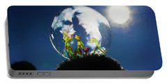 Portable Battery Charger featuring the digital art Frogs In A Bubble by Ericamaxine Price