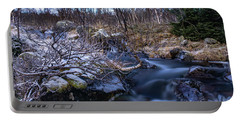 Frozen River And Winter In Forest Portable Battery Charger