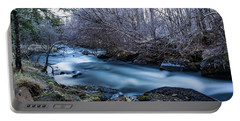 Frozen River Surrounded With Trees Portable Battery Charger