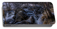 Frozen Stream In Winter Forest Portable Battery Charger