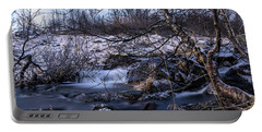 Frozen Tree In Winter River Portable Battery Charger