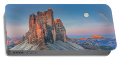 Full Moon Morning On Tre Cime Di Lavaredo Portable Battery Charger