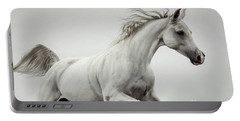 Portable Battery Charger featuring the photograph Galloping White Horse by Dimitar Hristov