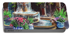 Garden Fountain Impressionism In Watercolor And Gouache  Portable Battery Charger