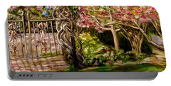 Garden Gate At Evergreen Arboretum Portable Battery Charger