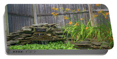 Garden Pond With Orange Day Lilies Portable Battery Charger