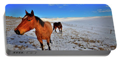 Portable Battery Charger featuring the photograph Geldings In The Snow by David Patterson