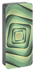 Geometric Abstract Pattern - Retro Pattern - Spiral 3 - Grey, Cream, Teal, Slate Portable Battery Charger