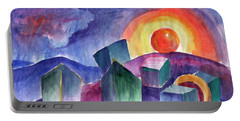 Portable Battery Charger featuring the painting Geometric Landscape by Dobrotsvet Art