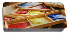 Geometric Material In Montessori Classroom For The Learning Of Children In Mathematics Area. Portable Battery Charger