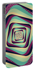 Geometric Abstract Pattern - Retro Pattern - Spiral 1 - Blue, Violet, Wheat, Beige Portable Battery Charger