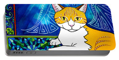 Ginger Angel Cat Painting Portable Battery Charger