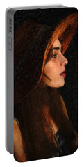 Girl In Hat Portable Battery Charger
