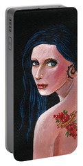 Girl With The Cranberry Tatoo Portable Battery Charger