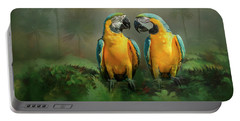 Gold And Blue Macaw Pair Portable Battery Charger