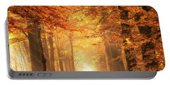 Portable Battery Charger featuring the photograph Golden Forest In Fall Season by IPics Photography