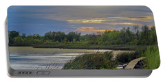 Golden Sunset Over Wetland Portable Battery Charger