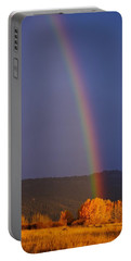 Portable Battery Charger featuring the photograph Golden Tree Rainbow by Tom Gresham