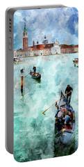 Gondola Rides And San Giorgio Di Maggiore In Venice Portable Battery Charger