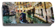 Gondola Traffic Near Piazza San Marco In Venice Portable Battery Charger